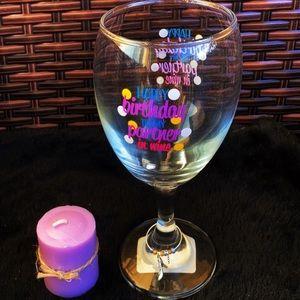 Happy birthday to my partner chic heel wine glass